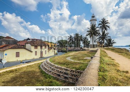 Pictorial view of light houe - Galle fort (Sri Lanka). Galle - the largest city and port in the south of Sri Lanka, the capital of the southern province and a popular tourist destination