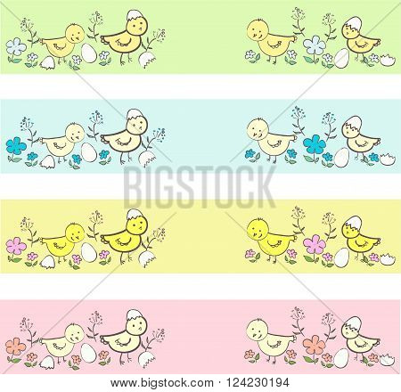 Cute chicken  different borders in neutral colors