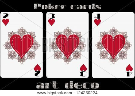 Poker Playing Card. 2 Heart. 3 Heart. 4 Heart. Poker Cards In The Art Deco Style. Standard Size Card