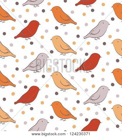 Bright seamless pattern with birds in neutral colors