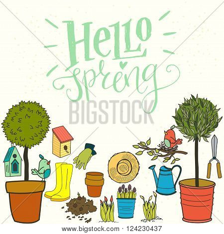Set of hand drawn garden tools pot ground watering can olive tree in a pot straw hat gloves rubber boots and bird house. 'Hello spring' hand lettering.