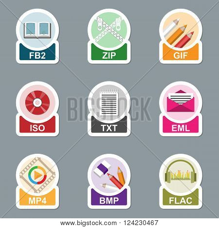 Set of file type icons. Pictograms of media extensions