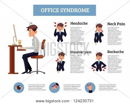Infographics office syndrome, vector illustration of a man sitting at a work space, an employee is experiencing suffering, demonstration of different types of pain in body due to sedentary work
