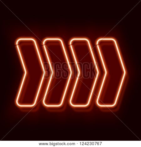 Retro neon red arrows. Vintage klubnyak electro direction indicator. Four arrows on a black background. illustration