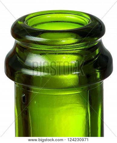 Closeup neck of green bottle of champagne isolated on white background