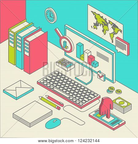 Flat 3d isometric computerized technology designer workspace infographic concept .