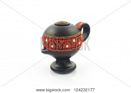 Indian Traditional Oil Lamp Isolated on White