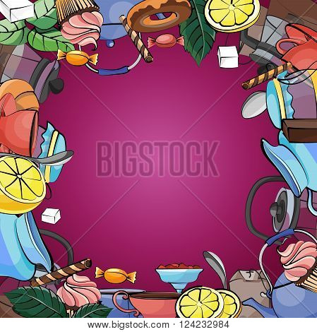 Vector background with tea pot, tea cup, cakes, leaves, ribbons, spoon, lemon. Elegant tea time set. Hand drawing.