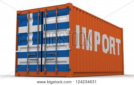 Import of Greece. Freight container on a white surface with inscription