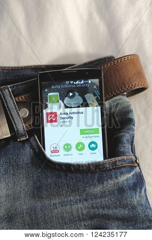 SARANSK, RUSSIA - April 3, 2016: Photo of Smartphone in a jeans pocket with Avira Antivirus application in a Google Play Store on the screen.
