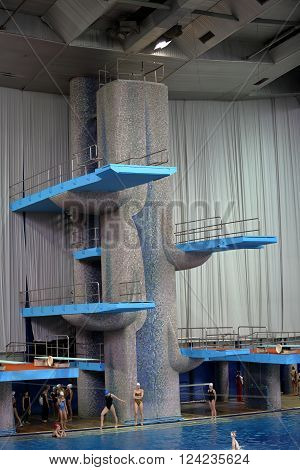 Springboard For Jumps In Water In Sport Complex