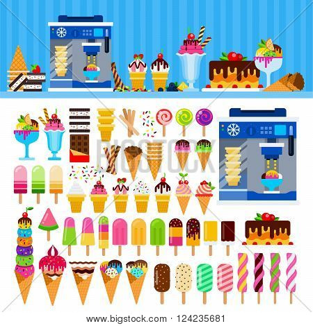 Ice cream vector flat illustrations. Ice cream, cakes on the table. Sweet life concept. Different ice cream and machine for ice cream isolated on white background