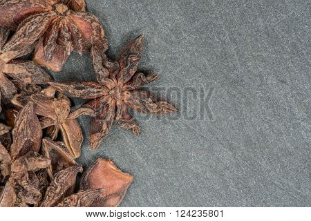 Star Anise On Slate Background With Copy Space To Right
