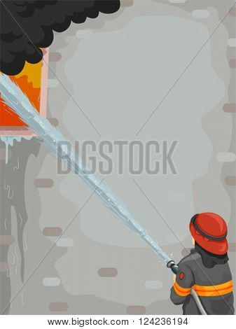 Illustration of a Male Firefighter Putting Out a Fire