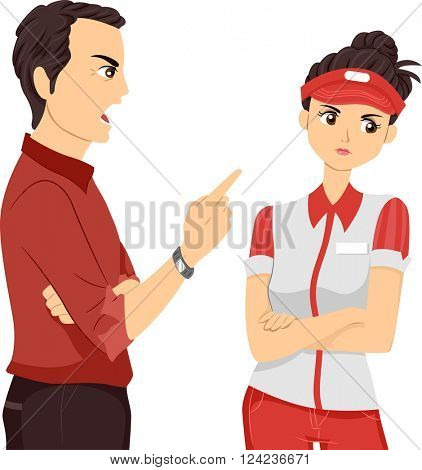 Illustration of a Female Teenage Part Time Worker Being Scolded by Her Supervisor