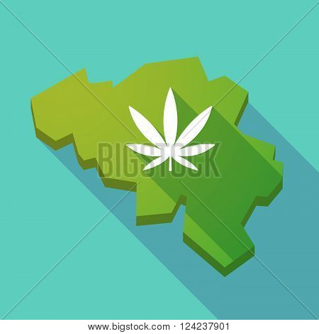 Long Shadow Map Of Belgium With A Marijuana Leaf