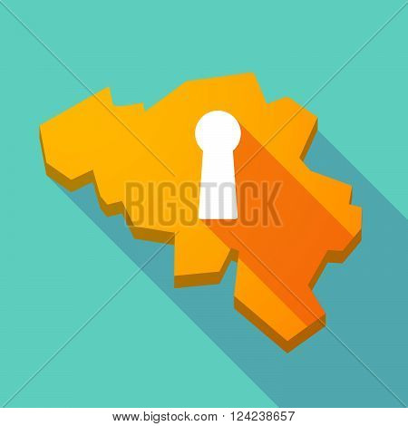 Long Shadow Map Of Belgium With A Key Hole