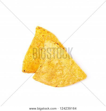 Pile of few corn tortilla chips isolated over the white background