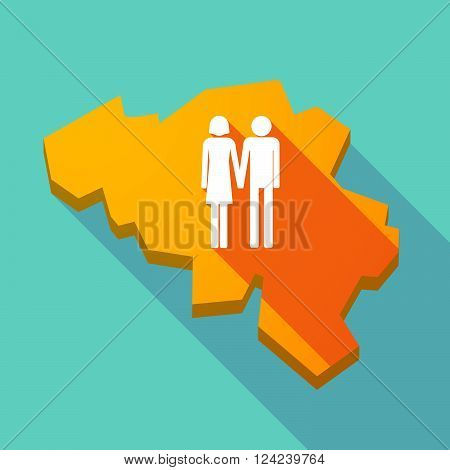 Long Shadow Map Of Belgium With A Heterosexual Couple Pictogram
