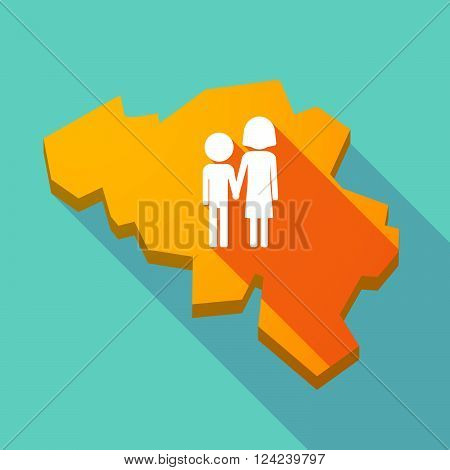 Long Shadow Map Of Belgium With A Childhood Pictogram