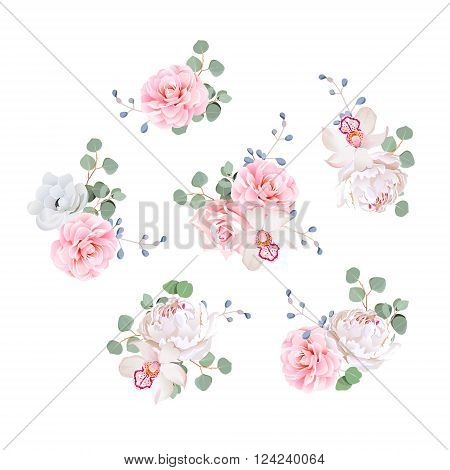 Small wedding bouquets of rose peony camellia orchid anemone camellia blue berries and eucaliptis leaves. Vector design elements.