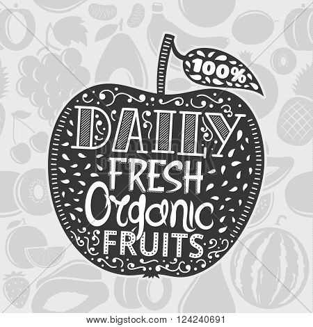 Vector organic fruit logo on an apple. Vintage illustration on fruits background. Fruit label with sample text. Fruits illustration for grocery food shop organic product label and advertising.
