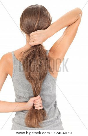 Brunette Lady Holding Long Hairs, View From Back Side Isolated O