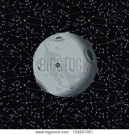 Moon on dark cosmos background with many stars