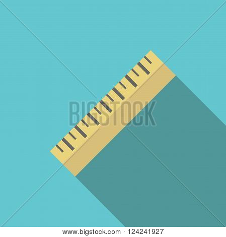 Yellow ruler on turquoise blue background with long shadow. Flat style diagonal icon. Measurement school measure and tool concept. EPS 8 vector illustration no transparency