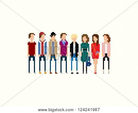 Pixel people. Different 8-bit pixel characters male and female isolated on light background
