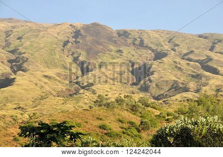 Gulley formed by floods carve the mountains of Serra on the island of Fogo, Cabo Verde