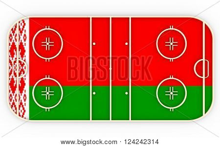 Ice hockey field textured by Belarus flag. Relative to world competition . 3D rendering. Simple playground
