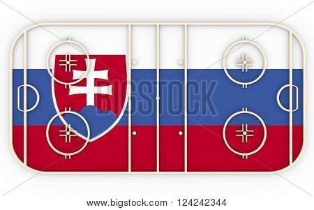 Ice hockey field textured by Slovakia flag. Relative to world competition . 3D rendering. Simple playground