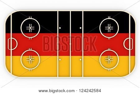 Ice hockey field textured by Germany flag. Relative to world competition . 3D rendering. Simple playground