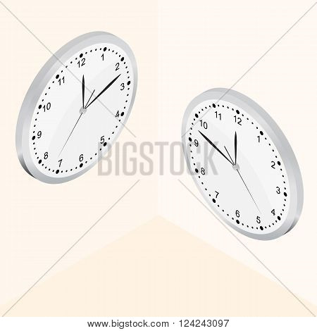 Isometric Wall clock. The Bright Dial. Round-the-clock. The clock is ticking. Silver color. Realistic clock icon. Vector illustration.