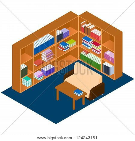 Library isometric. Comfortable place for reading book. The personal library in the house. Bookshelves with stacks of book. A work Desk and a sofa. Vector illustration.