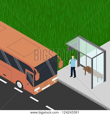 Isometric tourist bus. Man with cell phone at the bus stop. Waiting for the bus. Realistic bus in a flat style. Urban transport for passengers. Vector illustration.