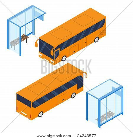 Isometric tourist bus and blue bus stop. Realistic bus in a flat style. The front and back. Urban transport for passengers. Transport of people and things. Vector illustration.
