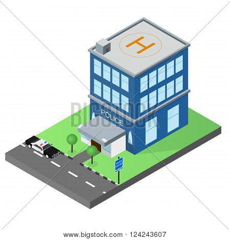 The building of the police station in the isometric. Police car. The facade of the building. Map of the area. Skyline. The two-story police building. Vector illustration.
