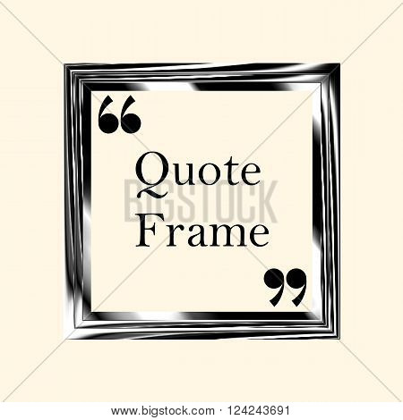 Quote boxes. Abstract square black frame. Border for motivational quotes important information and other content. The quotation mark. Vector illustration.