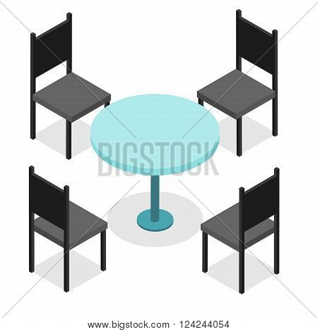 Four black chairs and blue round table. Flat isometric. Wood products. Isolated on white background. Vector illustration.