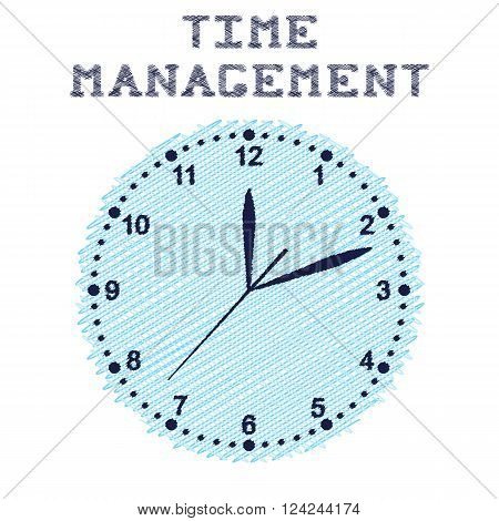 Time management. Round wall clock blue colour. Sketch. Clockwise. Three arrows on the dial. The exact time. Vector illustration.