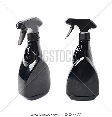Black plastic sprayer pulverizer isolated over the white background, set of two different foreshortenings