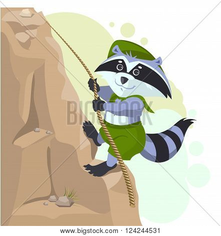 Climber descending rope. Scout raccoon climbs rock. Cartoon illustration in vector format