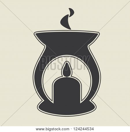 Aroma lamp black icon. Vector flat illustration.