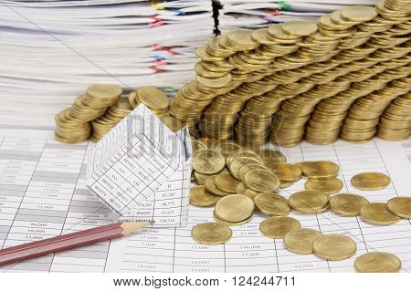 Close Up Pencil And Bankruptcy House Have Gold Coins Collapse