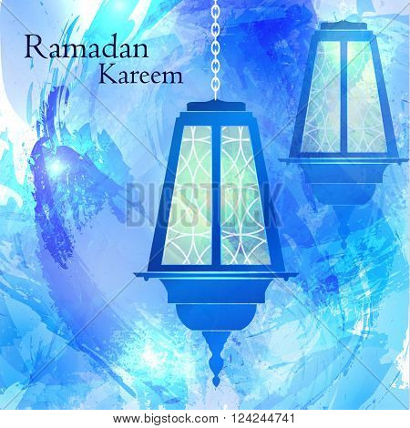 Ramadan Kareem. The month of Ramadan. Muslim post. Islamic holiday. Burning lights on the chain. Blue watercolor background. Vector illustration.
