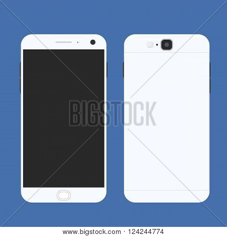 Cell phone. Flat style. Mobile device. Modern technologies of communication. Communication and management. White smartphone. Touchscreen display. Vector illustration.