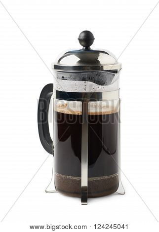 Glass french press pot filled with coffee, composition isolated over the white background