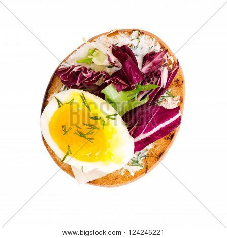 Bruschetta With Eggs And Fresh Vegetables